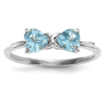 14k White Gold Polished Light Swiss Blue Topaz Bow Ring