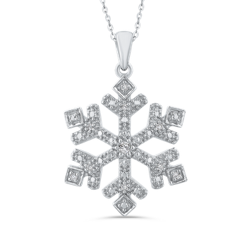 Sterling Silver .08 Ct Diamond Snow Flake Pendant with Chain