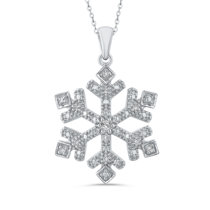 Essentials Sterling Silver .08 Ct Diamond Snow Flake Pendant with Chain