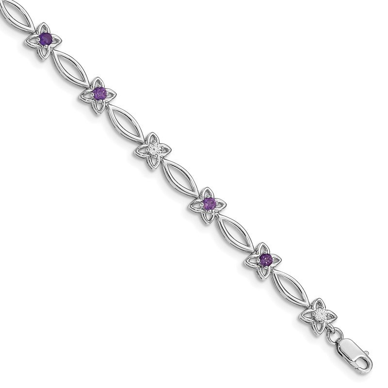 Quality Gold Sterling Silver Rhodium-plated Amethyst & Diamond Bracelet