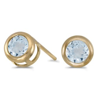 14k Yellow Gold Round Aquamarine Bezel Stud Earrings