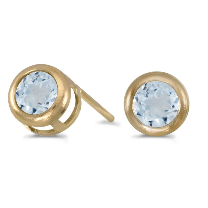 Color Merchants 14k Yellow Gold Round Aquamarine Bezel Stud Earrings