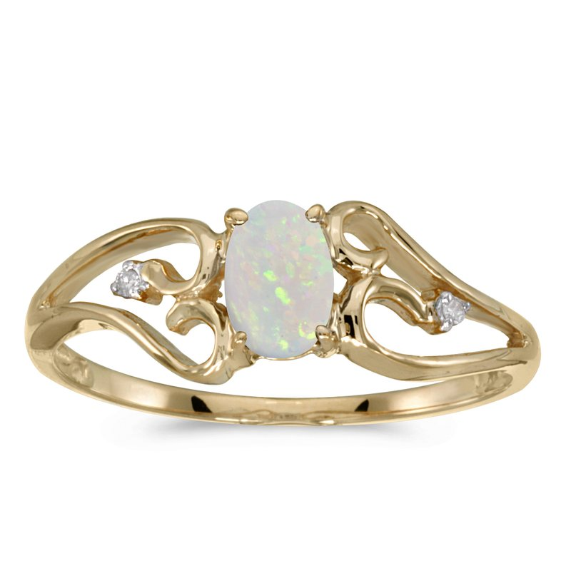 Color Merchants 14k Yellow Gold Oval Opal And Diamond Ring