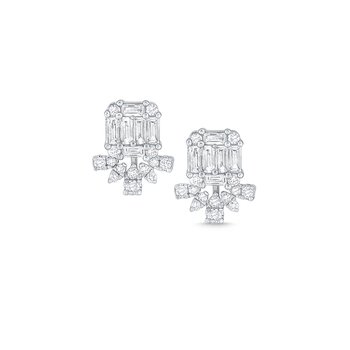 14k Gold and Baguette Diamond Post Earrings