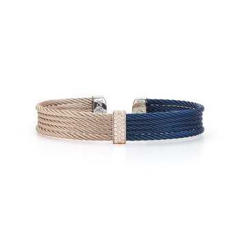 Blueberry & Carnation Cable Mini Cuff with 18kt Rose Gold & Diamonds