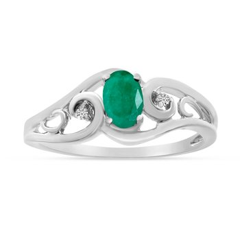 10k White Gold Oval Emerald And Diamond Ring