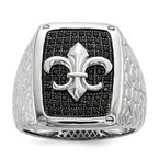 Quality Gold Sterling Silver & Black CZ Brilliant Embers Men's Ring