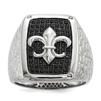 SS Rhodium-Plated Black CZ Brilliant Embers Men's Ring