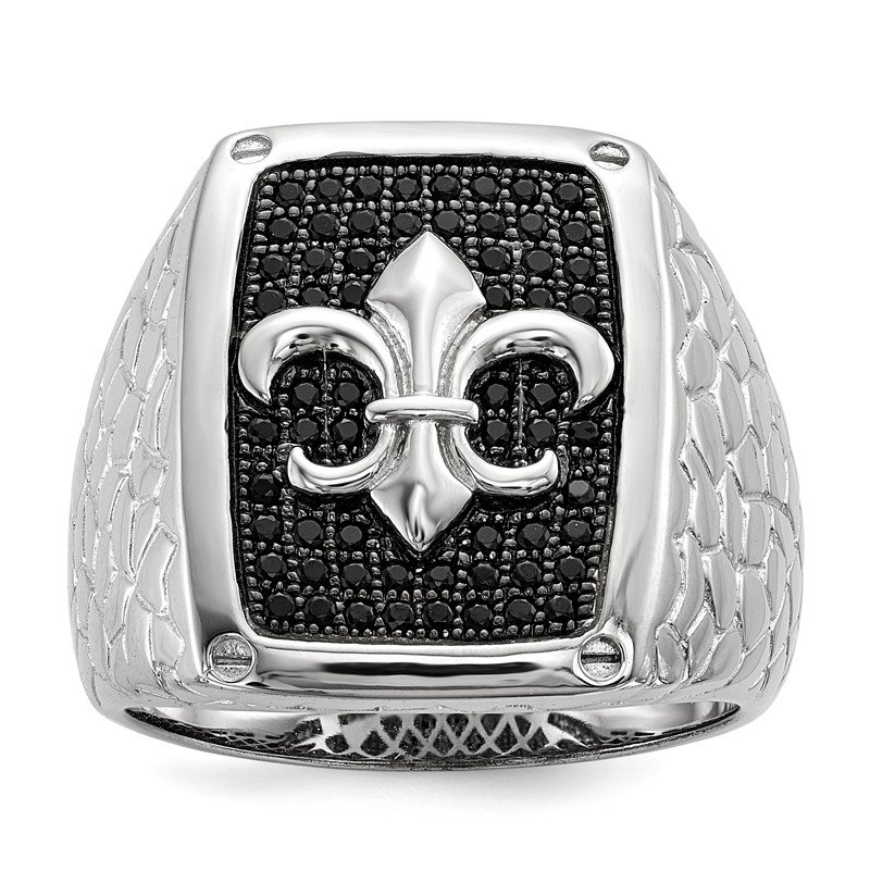 Quality Gold SS Rhodium-Plated Black CZ Brilliant Embers Men's Ring