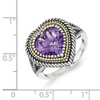 Shey Couture Sterling Silver w/14ky Amethyst Heart Ring