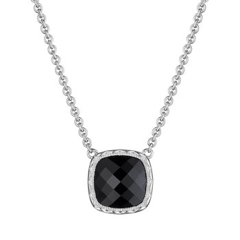 Cushion Gem Necklace with Black Onyx
