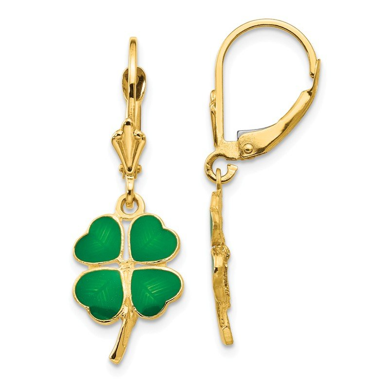 Quality Gold 14k Enameled Clover Leverback Earrings