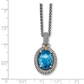Sterling Silver w/14k Antiqued Blue Topaz Necklace