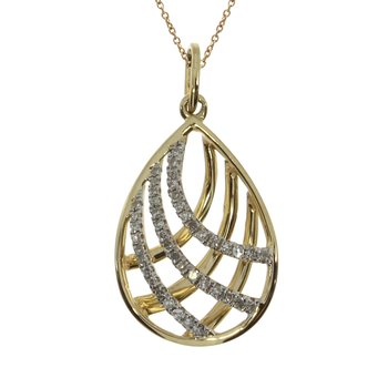 14k Yellow Gold Pear Shaped  Diamond Cage Pendant
