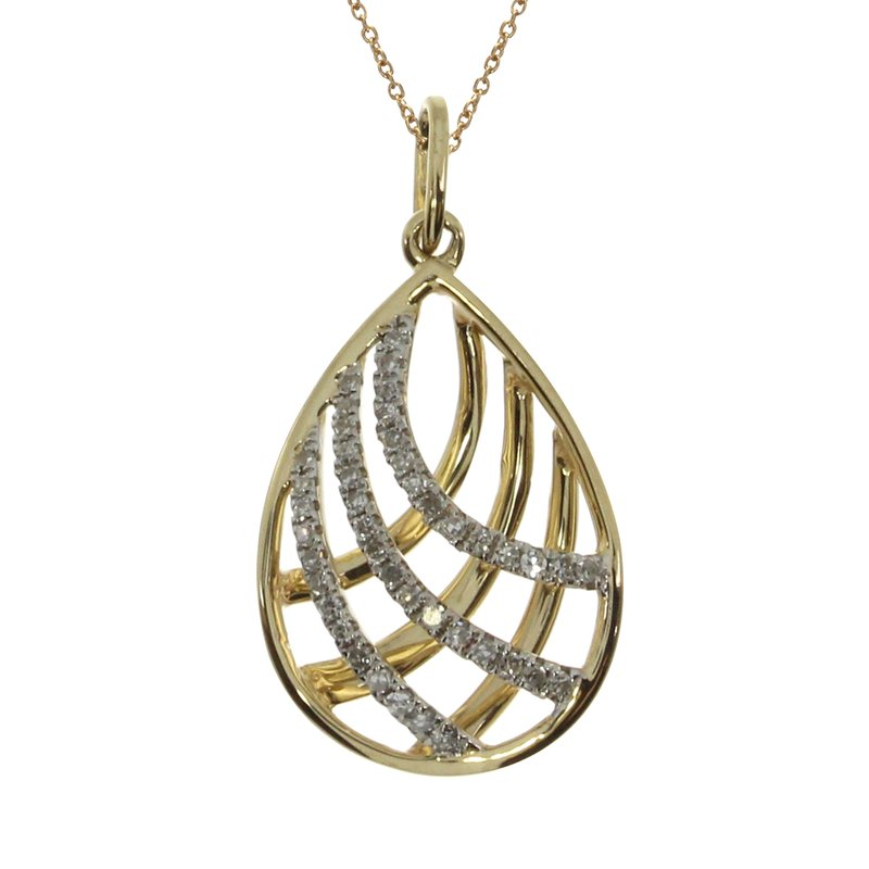 Color Merchants 14k Yellow Gold Pear Shaped  Diamond Cage Pendant