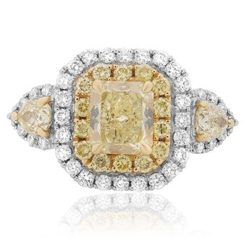 Radiant Cut Yellow Diamond Ring