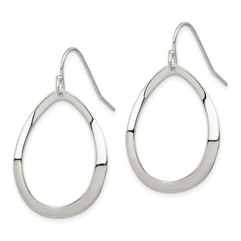Sterling Silver Polished Oval Dangle Earrings