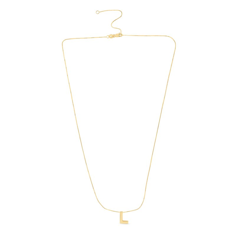 Royal Chain 14K Gold Block Letter Initial L Necklace