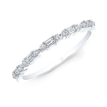 White Gold Baguette Stackable Band