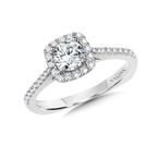 Valina Diamond Halo Engagement Ring Mounting in 14K White Gold (0.31 ct. tw.)