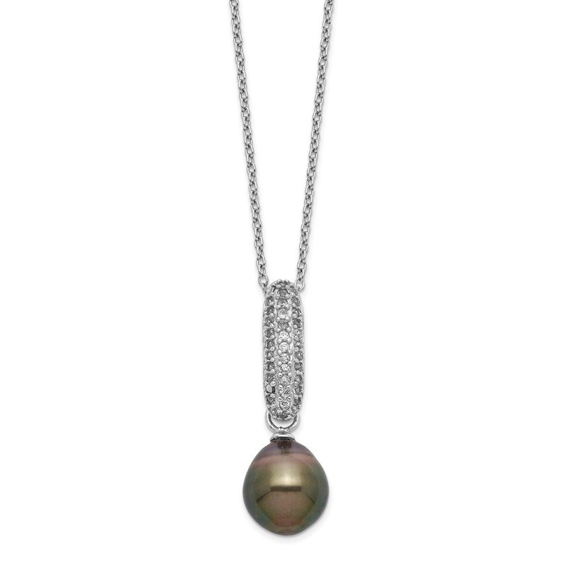Quality Gold Sterling Silver Rhod-plat 9-10mm Drop Tahitian Pearl CZ Necklace
