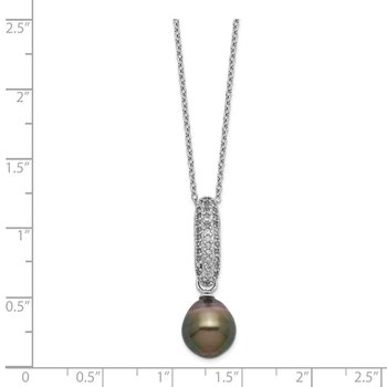 Sterling Silver Rhod-plat 9-10mm Drop Tahitian Pearl CZ Necklace