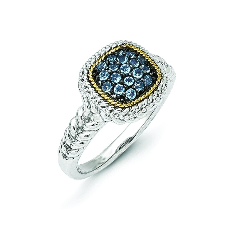 Shey Couture Sterling Silver w/14k and Black Rhodium Blue Topaz Ring