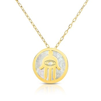 14K Gold Hamsa Mother of Pearl Necklace