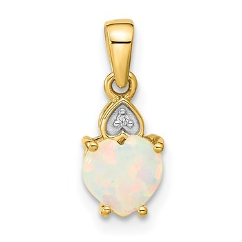 14k Diamond and Opal Polished Heart Pendant