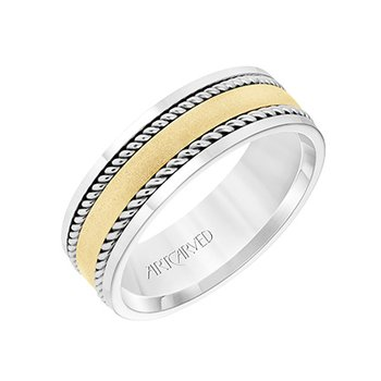 14K Two-Tone Rope Comfort Fit Wedding Band