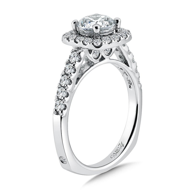Cushion Shaped Halo Diamond Engagement Ring with Side Stones in 14K White Gold with Platinum Head (1ct. tw.)