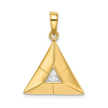 Sterling Silver Gold-plated Triangular Origami CZ Pendant