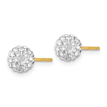 14k Post 6mm Crystal Ball Earrings