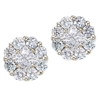 14K White Gold 1 ct Diamond Clustaire Stud Earrings