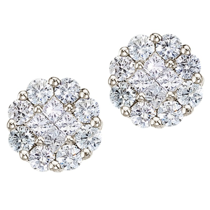 Color Merchants 14K White Gold 1 ct Diamond Clustaire Stud Earrings