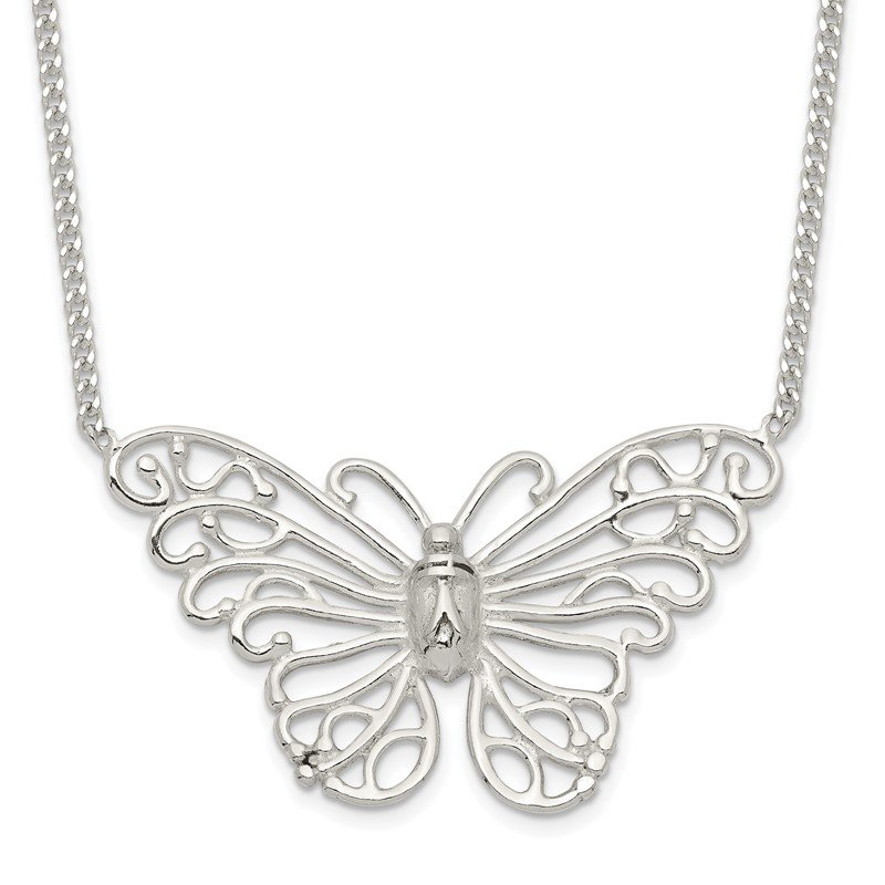 Quality Gold Sterling Silver Butterfly Necklace