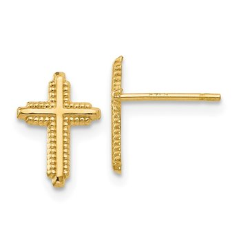 14K Yellow Gold Polished Cross Post Earrings