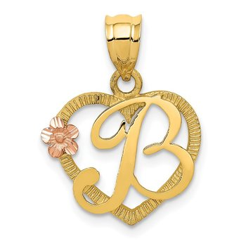 14k Two-Tone Heart Letter B Initial Pendant