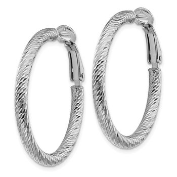 14k 3x25mm White Gold Diamond-cut Round Omega Back Hoop Earrings