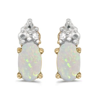 10k Yellow Gold Oval Opal Earrings