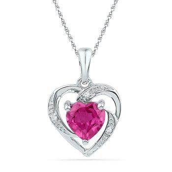 10kt White Gold Womens Round Lab-Created Ruby Heart Love Pendant 1.00 Cttw