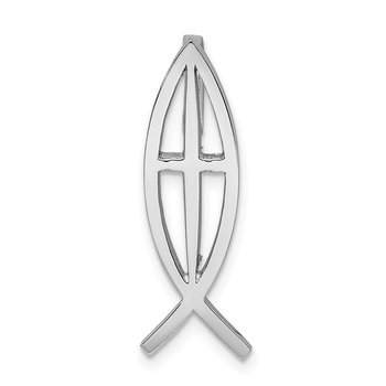 14K White Polished Ichthus Cross Fish Slide