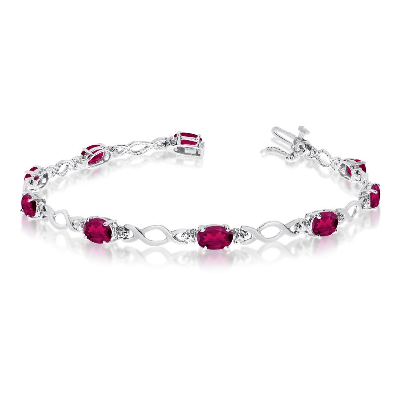 Color Merchants 10K White Gold Oval Ruby and Diamond Bracelet
