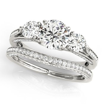 - Round 3-Stone Accented Diamond Engagement Ring and Wedding Band