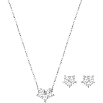 Lady Set, White, Rhodium plated