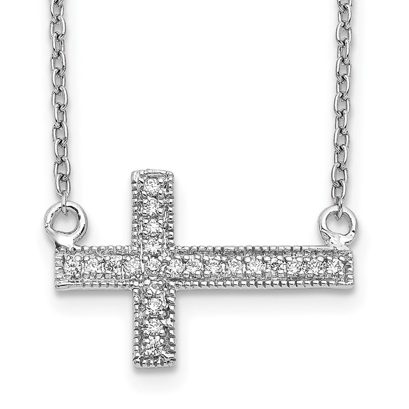 Quality Gold 14k White Gold Diamond Sideways Cross 18in Necklace