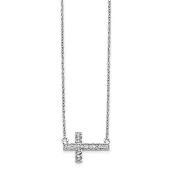14k White Gold Diamond Sideways Cross 18in Necklace