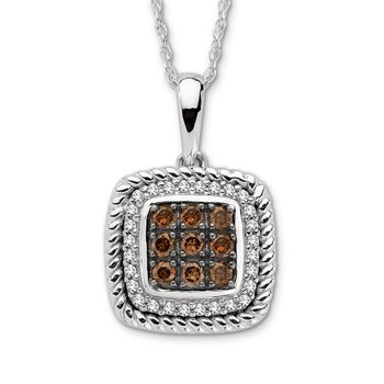 Pave set Cognac and White Diamond Cusion Shaped Pendant 14k White Gold  (1/4 ct. tw.)