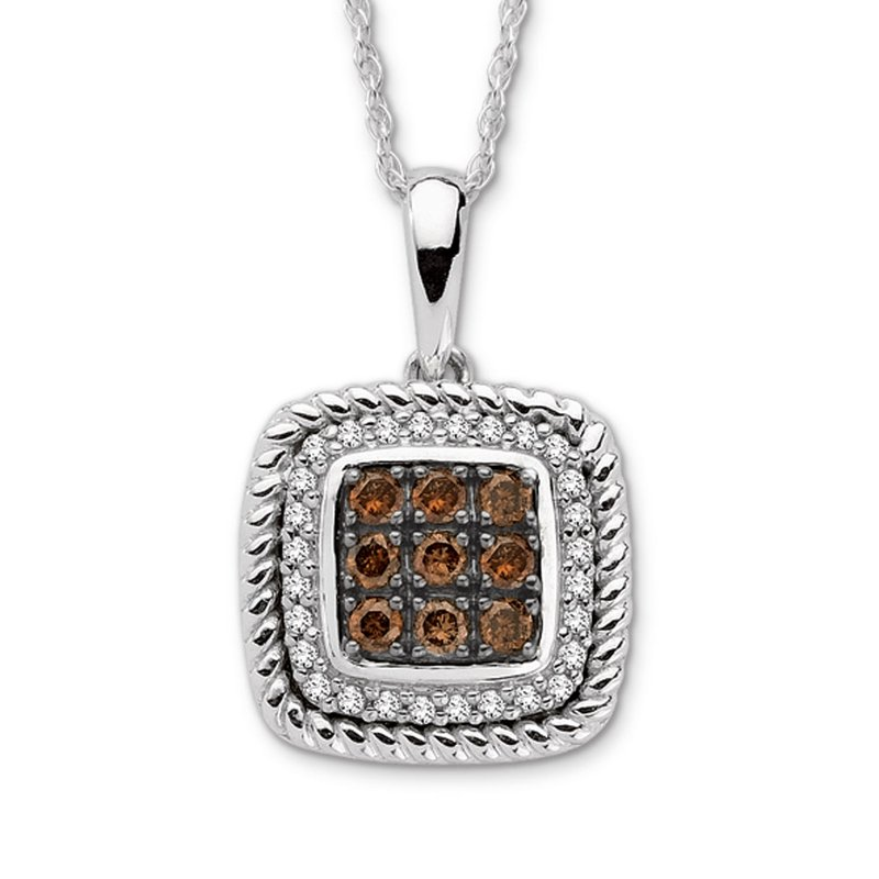 SDC Creations Pave set Cognac and White Diamond Cusion Shaped Pendant 14k White Gold  (1/4 ct. tw.)