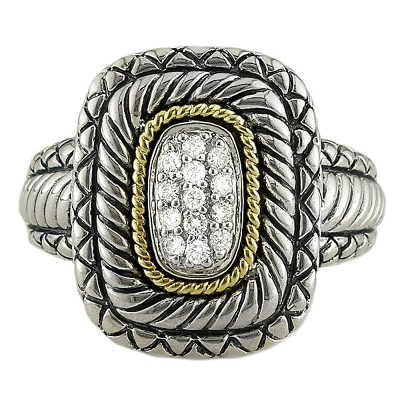 Andrea Candela 18kt and Sterling Silver Pave Rectangle Diamond Ring